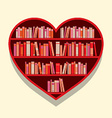 Heart Shape Bookshelf On Wall vector image vector image