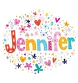 Jennifer female name decorative lettering type vector image vector image