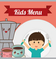 kids menu boy fork knife coffee chocolate vector image vector image