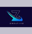 letter z logo z design with blue swash
