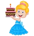 Little girl cartoon with birthday cake vector image vector image