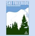 minimalist winter poster ski freeride vector image
