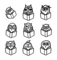 owls hand drawn set vector image vector image