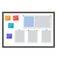 paper sticker with task on board project planning vector image
