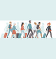 passengers with luggage standing it queue vector image