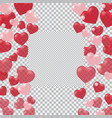 red and pink hearts translucent located on both vector image vector image