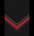 red light arrow on dark gray hexagon mesh vector image vector image