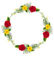 round border template with yellow and red flowers vector image vector image