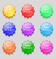 Scorpio icon sign symbol on nine wavy colourful vector image
