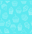 seamless pattern with cupcakes on blue background vector image