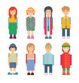 set characters in flat design vector image vector image