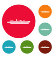 ship combat icons circle set vector image