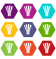 shuttlecock icon set color hexahedron vector image vector image