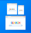 simple browser window on blue background browser vector image vector image