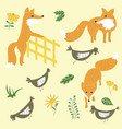 sly foxes and chickens set vector image