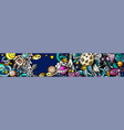 space hand drawn doodle banner cartoon detailed vector image vector image