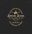 Surfing school vintage emblem retro logo design