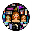 tools for makeup and beauty on black background vector image vector image