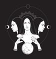 triple lunar goddess hecate vector image vector image