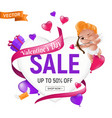 valentines day sale banner or flyer design vector image vector image