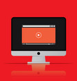 video player icon computer in flat style vector image vector image