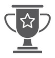 winner glyph icon game and award trophy cup sign vector image vector image