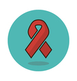 Awareness ribbon flat icon AIDS sign vector image