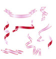 pink ribbon set background isolated label icon vector image