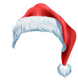 santa red hat with fluffy edge shaggy fur vector image