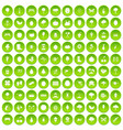 100 gardening icons set green circle vector image vector image