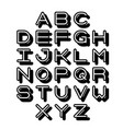 3d outline font and alphabet vector image vector image