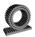 3D rack pinion spur gear wheel cogwheel vector image vector image