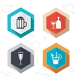 Alcoholic drinks signs Champagne beer icons vector image vector image