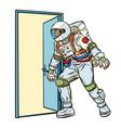 astronaut opens door to unknown vector image