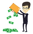 bankrupt shaking out money from his briefcase vector image vector image