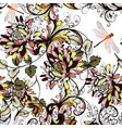 beautiful floral background with colorful swirls vector image