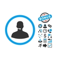 Call Center Operator Flat Icon with Bonus vector image vector image