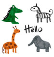 cartoon african animals with hello vector image