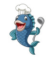 cartoon chef fish holding a soup ladle vector image vector image