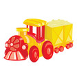 cartoon locomotive on white background a toy vector image
