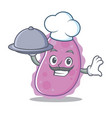 chef with food bacteria mascot cartoon style vector image