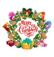 christmas tree gifts cookies and ornaments wreath vector image vector image