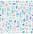 Cityscape doodles Seamless pattern vector image vector image