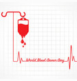 creative world blood donor day greeting vector image vector image
