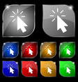 Cursor icon sign Set of ten colorful buttons with vector image vector image