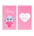 cute card for valentines day with bunny and hearth vector image vector image