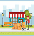 delivery worker with cart boxes character vector image vector image