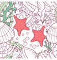 Doodle sea seamless pattern with starfish and vector image