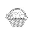 easter basket with eggs outline vector image vector image