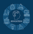education poster with outline icons vector image vector image